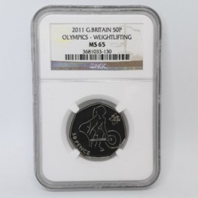 Great Britain 2011 Olympics 50p - Weightlifting - NGC MS65
