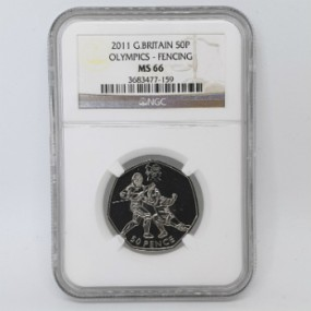 Great Britain 2011 Olympics 50p - Fencing - NGC MS66